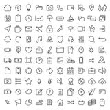 100 ligne mince icônes universelles réglées Photographie stock libre de droits