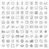100 ligne mince icônes universelles réglées Images stock