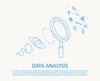 Ligne mince isométrique analyse de données de concept de construction Photographie stock libre de droits