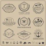 Ligne mince linéaire ensembles de logo d'insigne Photographie stock libre de droits