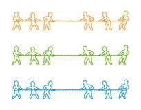 Ligne mince logo et icône de vecteur de conflit Photos stock