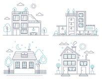 Ligne mince maison américaine suburbaine de campagne avec des arbres réglés Dirigez l'illustration à la maison futée pour infogra illustration stock