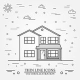 Ligne mince maison américaine suburbaine de vecteur d'icône Pour le web design a Illustration Libre de Droits
