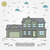 Ligne mince maison américaine suburbaine de vecteur d'icône Pour le web design a Illustration Stock