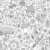 Ligne mince modèle sans couture de la Russie d'abrégé sur fond d'icônes Illustration de vecteur illustration libre de droits