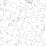 Ligne mince modèle sans couture de nourriture d'icône Image libre de droits