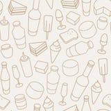 Ligne mince modèle sans couture de nourriture de vintage d'icône Images libres de droits