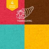 Ligne mince modèles de vacances de jour de thanksgiving réglés illustration stock