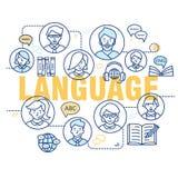 Ligne mince moderne concepts d'apprendre des langues étrangères, école de formation linguistique illustration stock