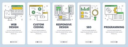 Ligne mince moderne ensemble de vecteur de bannière de concept de web design illustration libre de droits