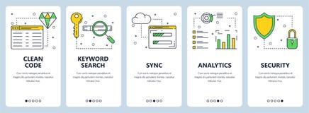 Ligne mince moderne ensemble propre de vecteur de bannière de Web de concept de code illustration stock