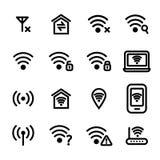 Ligne mince noire ensemble de Wifi Wreless d'icône Vecteur illustration de vecteur