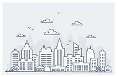 Ligne mince paysage de ville Paysage du centre avec de hauts gratte-ciel Calibre de paysage de ville d'architecture de panorama illustration stock