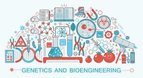 Ligne mince plate moderne biologie de conception, génétique et technologie de bio-ingénierie illustration de vecteur