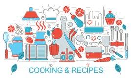 Ligne mince plate moderne cuisson de cuisine de conception et concept de recettes pour le site Web de bannière de Web Images stock