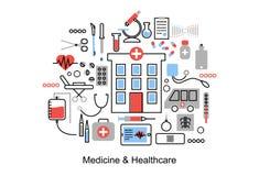 Ligne mince plate moderne illustration de conception, concept de médecine et soins de santé Images stock