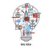 Ligne mince plate moderne illustration de vecteur de conception, concept de grande idée créative sous forme de lampe d'ampoule illustration stock