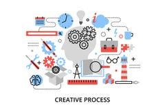 Ligne mince plate moderne illustration de vecteur de conception, concept de problème créatif de processus, de définition et de re Photographie stock libre de droits
