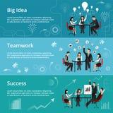 Ligne mince plate moderne illustration de vecteur de conception, concepts de grande idée créative, procédé de travail d'équipe et Images libres de droits
