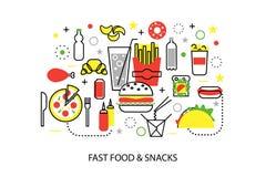 Ligne mince plate moderne illustration de vecteur de conception, concepts des aliments de préparation rapide malsains et casse-cr Photo stock