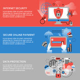 Ligne mince plate moderne illustration de vecteur de conception, concepts infographic de sécurité d'Internet, en ligne sûr et pro Image stock
