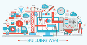 Ligne mince plate moderne progrès de bâtiment de site Web de conception Image stock