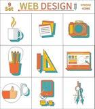 Ligne mince réglée icônes de web design Illustration Stock