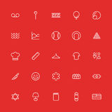 Ligne mince réglée icônes Interface utilisateurs de collection de vecteur Images libres de droits