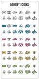 Ligne mince vecteur rose bleu d'argent d'icônes de vert jaune de noir de couleur Photographie stock