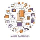 Ligne mobile Art Thin Icons d'application Photographie stock libre de droits