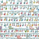 Ligne modèle sans couture de coup de note de musique de support d'oiseau illustration libre de droits