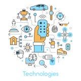 Ligne moderne Art Thin Icons Set de technologies avec la Chambre futée et le Quadrocopter Image libre de droits