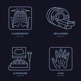 Ligne moderne icône de vecteur du rayon X, IRM, ultrason Recherche médicale, logo linéaire de clinique Symbole de laboratoire de  illustration libre de droits