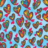 Ligne modèle sans couture de dessin de forme d'amour de ciel Photo stock