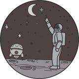 Ligne mono de navette de Pointing Stars Moon d'astronaute Photos stock