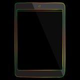 Ligne multicolore icône de tablette sur le fond noir Images libres de droits