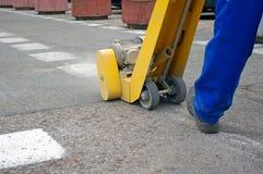 Ligne nettoyage d'asphalte Images stock