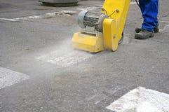 Ligne nettoyage d'asphalte Photos stock