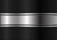 Ligne noire argentée abstraite chevauchement de bannière sur le vecteur futuriste de luxe moderne de fond de conception de maille illustration stock