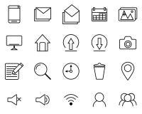 Ligne noire ensemble d'icônes Photo libre de droits