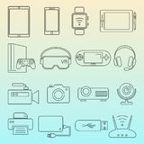 Ligne noire ensemble d'isolement par icônes de dispositifs de Digital illustration stock