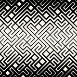 Ligne noire et blanche sans couture Maze Square Pattern géométrique de rayures de vecteur Image stock
