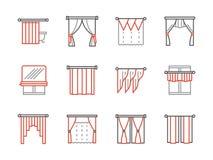 Ligne noire et rouge icônes de salon de rideaux illustration stock