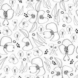 Ligne noire fond sans couture de modèle de répétition de fleurs Fleur-monochromatiques illustration stock