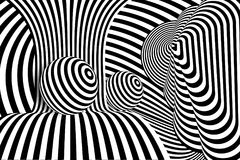 Ligne noire illusion du blanc 3d de boule de déformation illustration libre de droits
