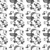 Ligne noire modèle d'or de poissons sur le fond blanc illustration libre de droits