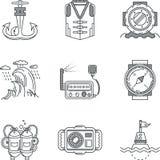 Ligne noire naviguante au schnorchel icônes Images libres de droits