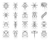 Ligne noire simple ensemble d'insecte de danger de vecteur d'icônes illustration de vecteur