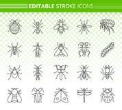 Ligne noire simple ensemble d'insecte de danger de vecteur d'icônes illustration libre de droits