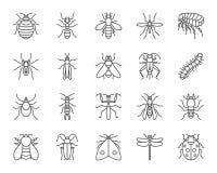 Ligne noire simple ensemble d'insecte de danger de vecteur d'icônes illustration stock